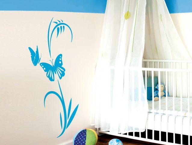 מדבקת קיר | גבעול עם פרפרים