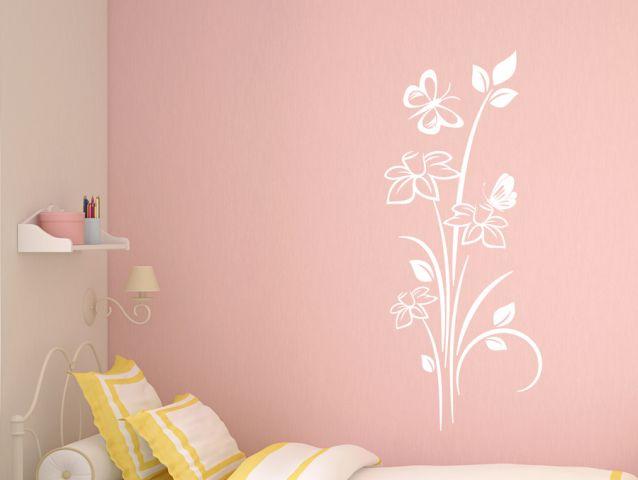 מדבקת קיר | נרקיסים ופרפרים