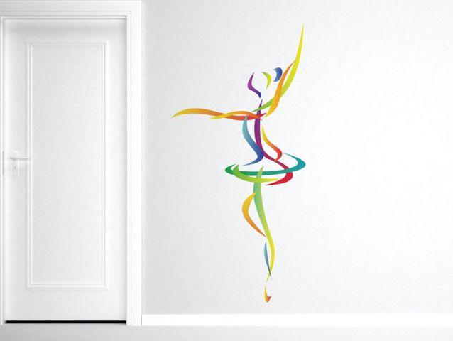 מדבקת קיר | בלרינה צבעונית