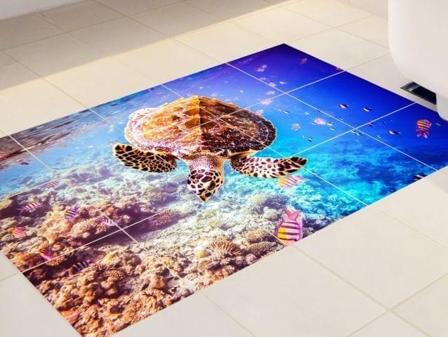 מדבקה למרצפות    צב ים