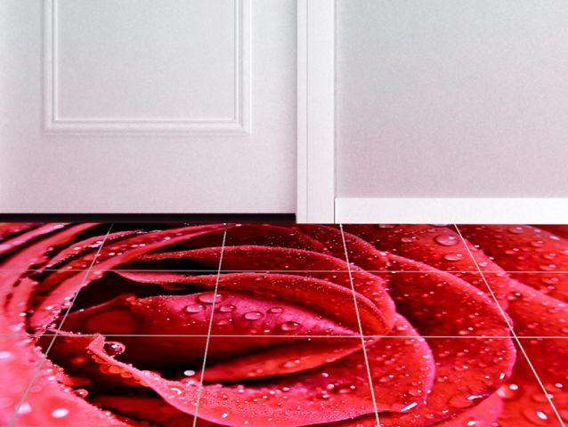 מדבקות רצפה   ורד