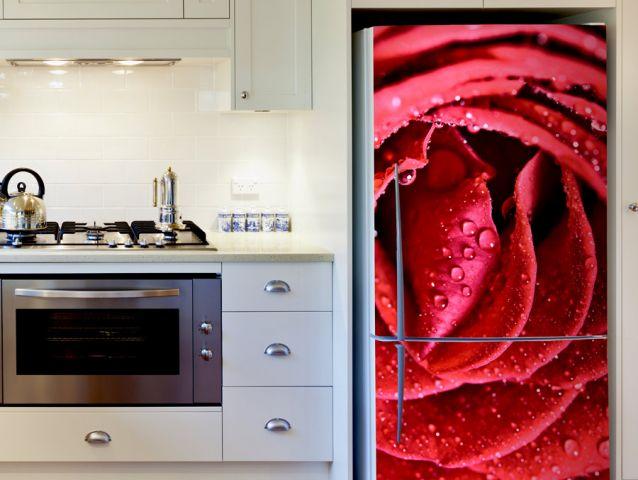 מדבקת ורד אדום למקרר