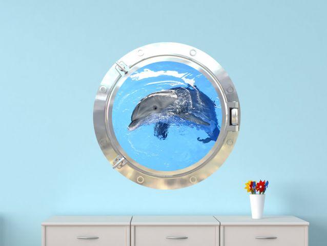 מדבקת חלון 3D | דולפין מתוק