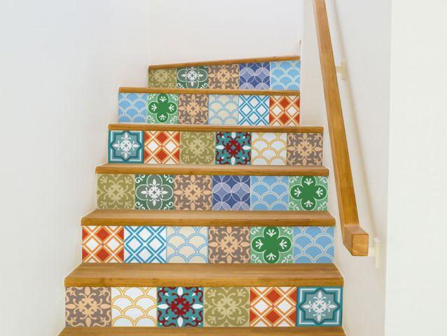 מדבקות למדרגות   סגנון מרוקאי
