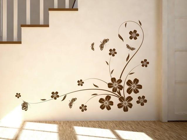 מדבקת קיר | פרחים פינתיים