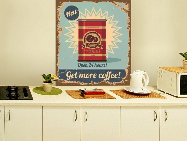 מדבקת קיר רטרו קפה