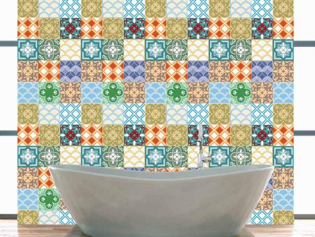 טפט בסגנון אריחים מרוקאיים צבעוניים
