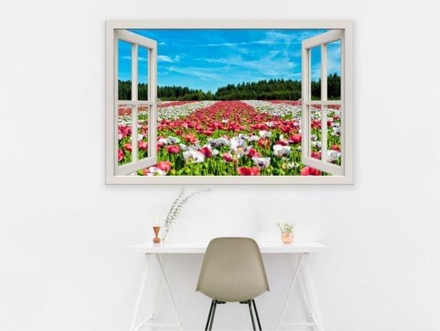 מדבקת חלון 3D | שדה פרחים