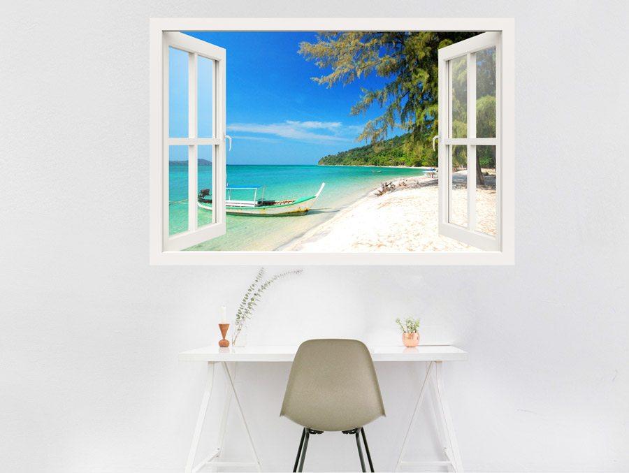 מדבקת חלון 3D | סירה בחוף