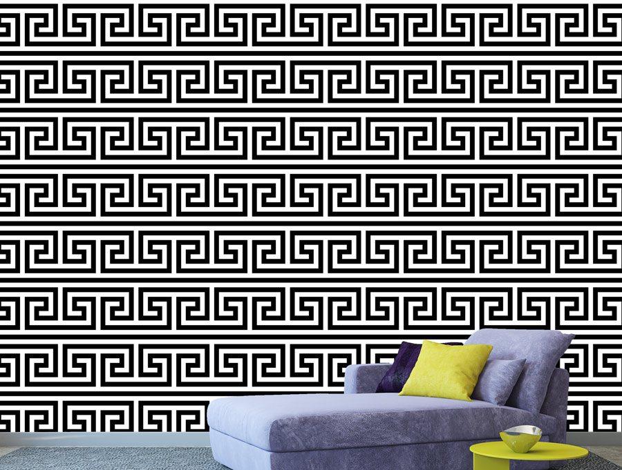 טפט קיר - יוון בשחור לבן