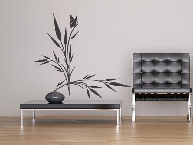 מדבקת קיר | צמח עם פרפר