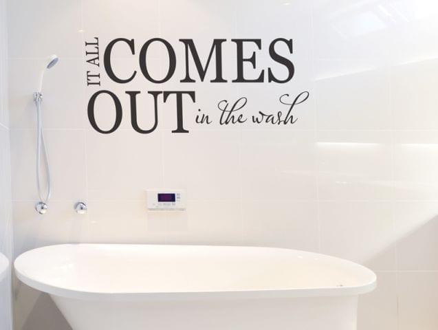 מדבקת קיר לאמבטיה הכול יוצא בשטיפה