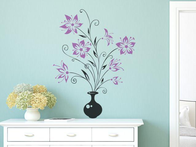 מדבקת קיר | אגרטל פרחים