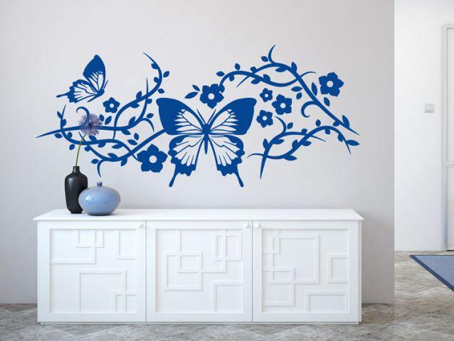 מדבקת קיר | פרפרים פרחוניים