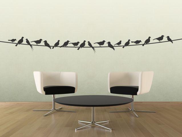 מדבקת קיר   ציפורים על כבל