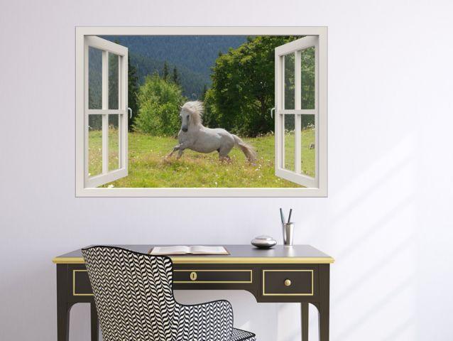 3D window- סוס לבן בחלון