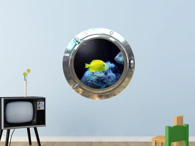 מדבקת חלון 3D   דגים