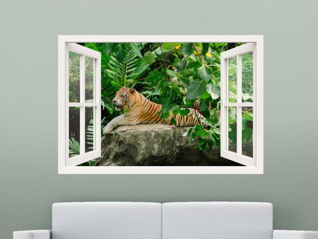מדבקת חלון 3D   טיגריס בג'ונגל