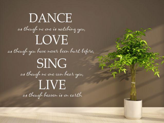 מדבקת קיר   לרקוד לאהוב לשיר לחיות