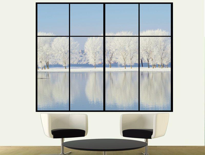 מדבקת קיר | חלון לנוף מושלג