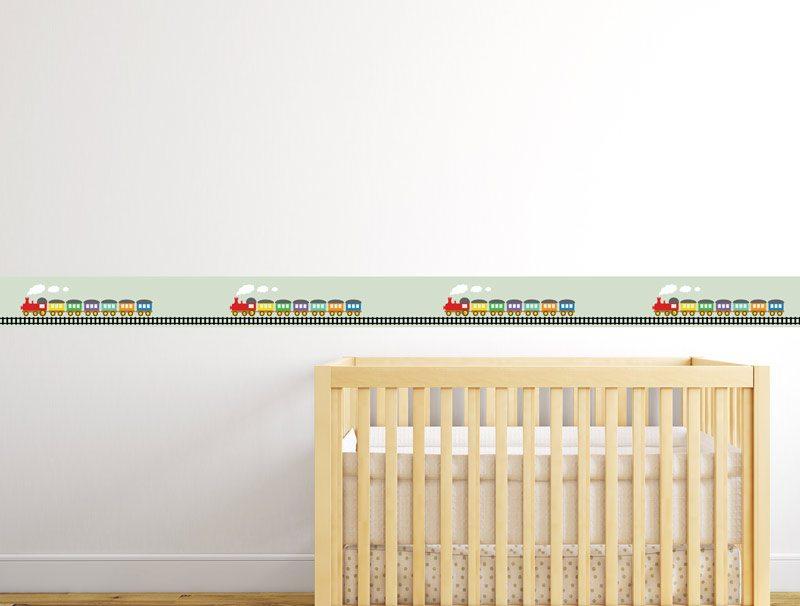 מדבקת קיר   בורדר רכבת צבעונית