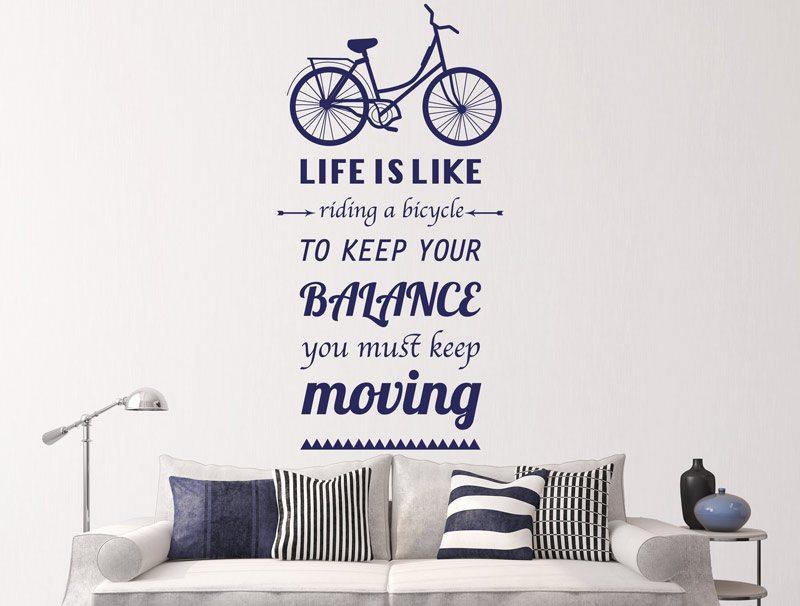 מדבקת קיר | החיים הם כמו לרכב על אופניים