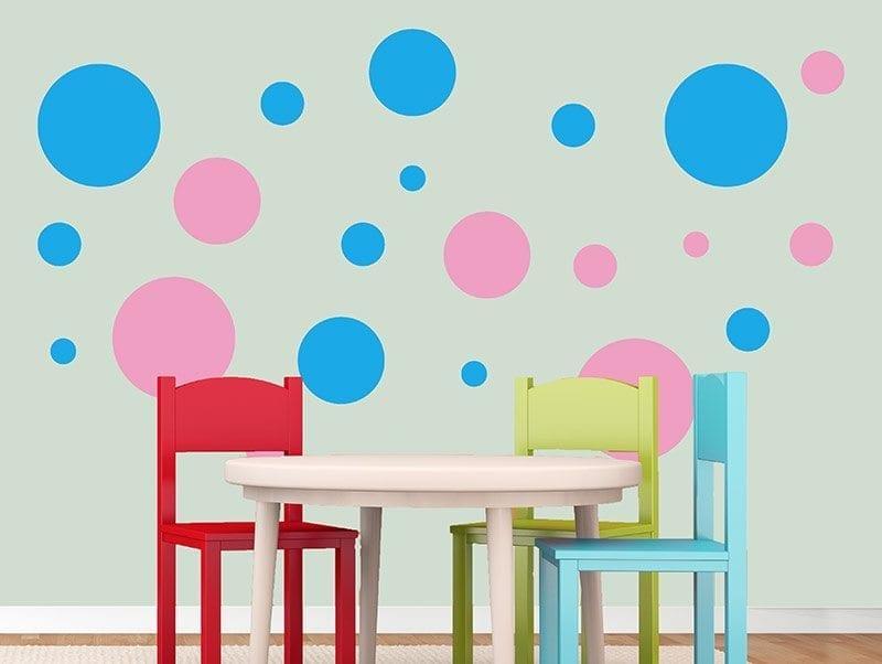סט מדבקות קיר   עיגולים צבעוניים