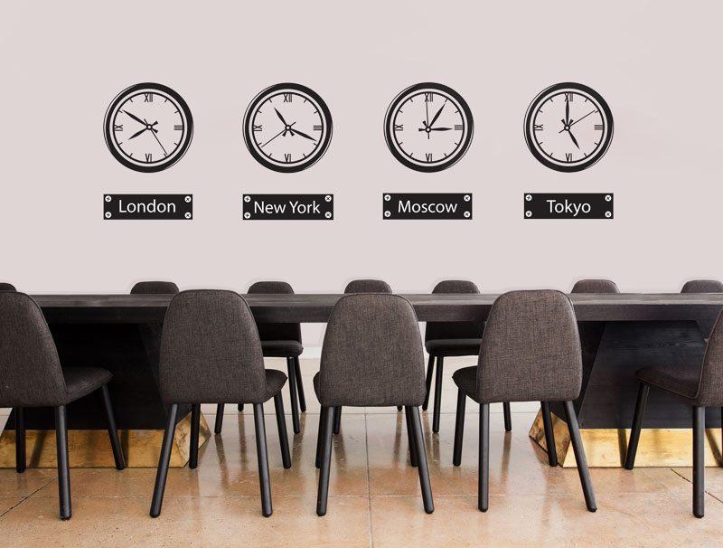 מדבקת קיר   שעונים מרחבי העולם
