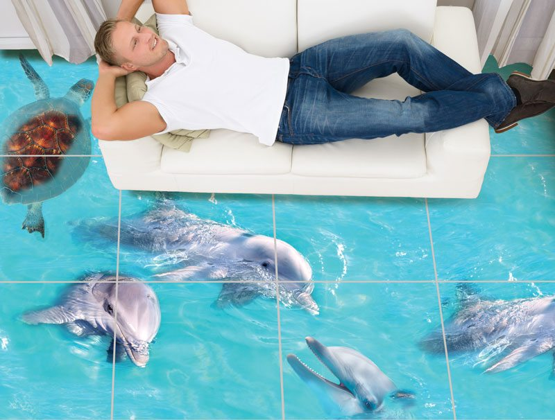 מדבקות רצפה   דולפינים וצב ים בקרקעית