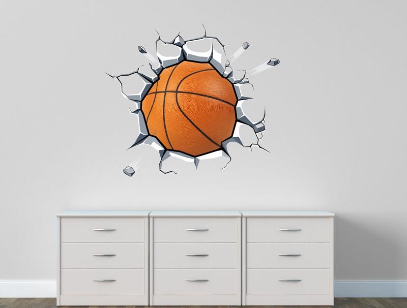 מדבקת קיר   כדורסל כתום תקוע בקיר