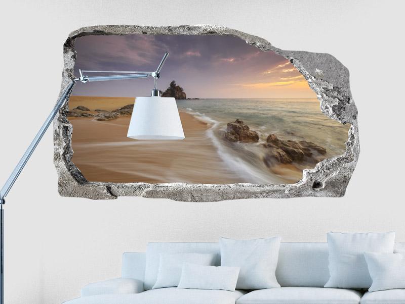 מדבקת קיר | חור עם נוף לים