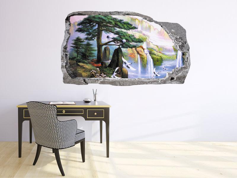 מדבקת קיר תלת מימדית של חור בקיר עם נוף יפה