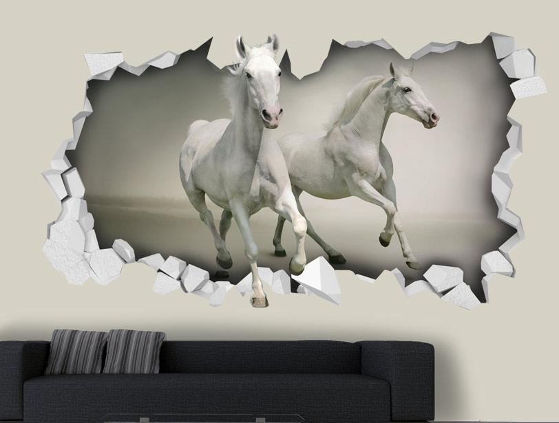 מדבקת קיר   חור תלת מימדי עם סוסים לבנים דוהרים