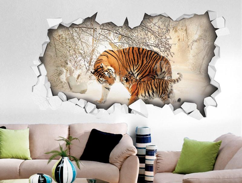 מדבקת קיר | חור תלת מימדי עם נמרה וגור בשלג