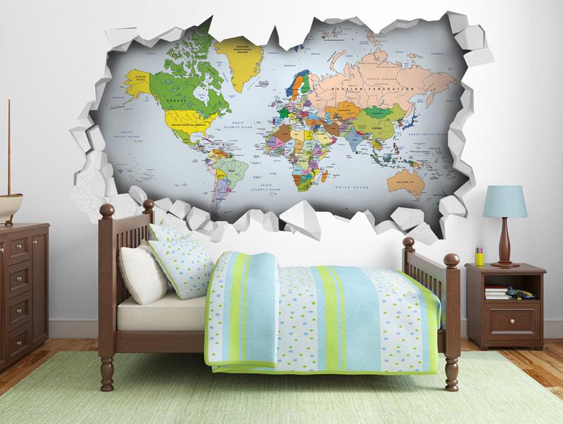 מדבקת קיר   חור תלת מימדי עם מפת העולם