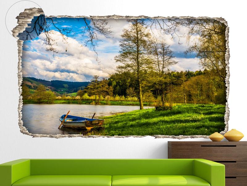 מדבקת קיר   חור תלת מימדי עם נוף יפיפה של אגם וסירה