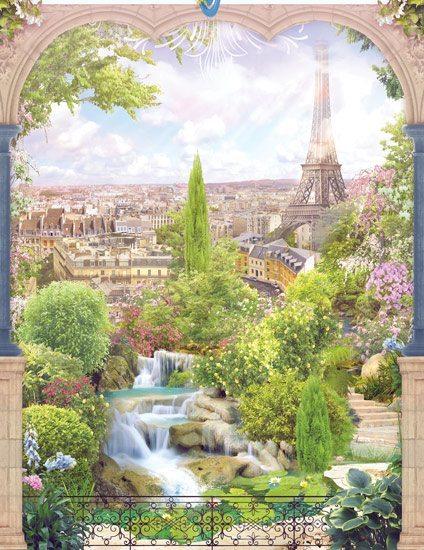 טפט   גן ירוק עם נוף לפריז