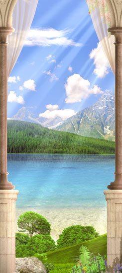 טפט לדלת   יציאה לאגם יפיפה