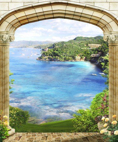 טפט   שער תלת מימדי עם נוף מרהיב לים