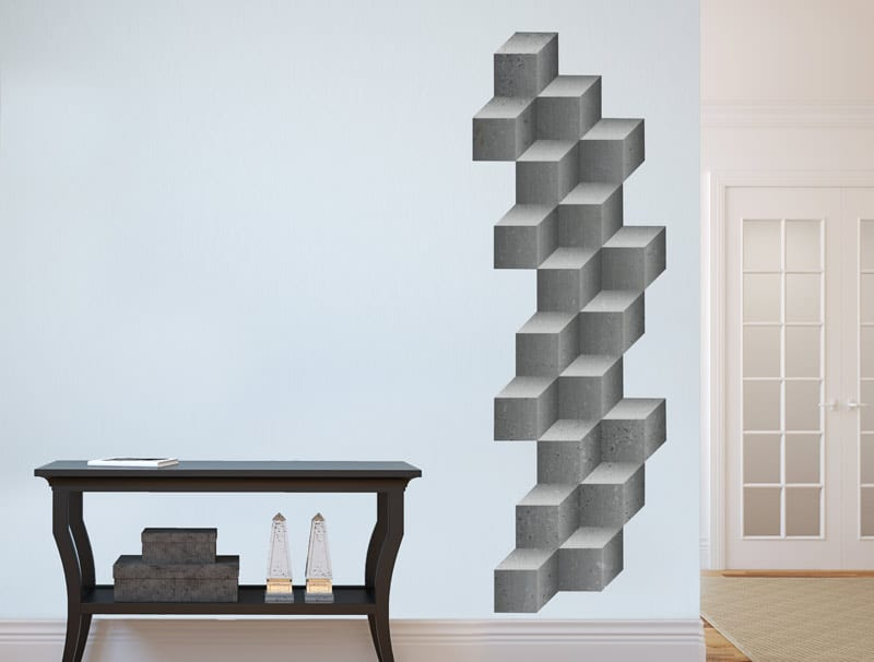 מדבקת קיר   קוביות בטון
