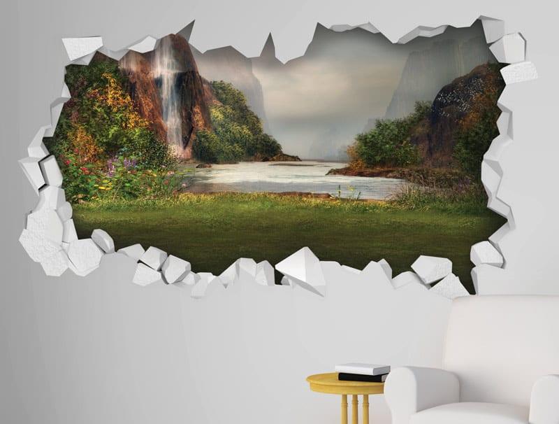 מדבקת קיר   חור עם נוף יפיפה
