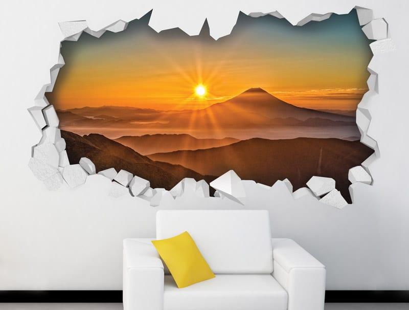 מדבקת קיר   חור עם נוף של שקיעה יפיפייה