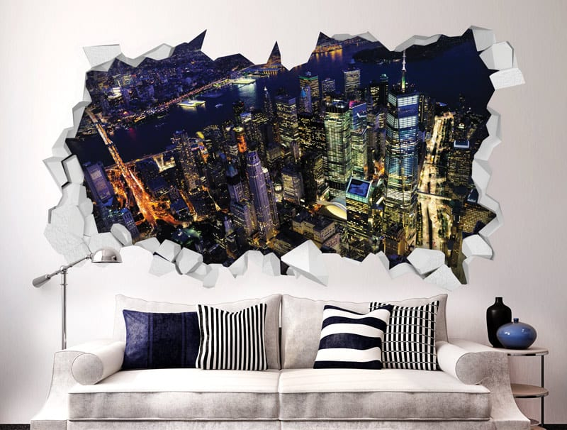 מדבקת קיר   חור בקיר עם נוף של עיר