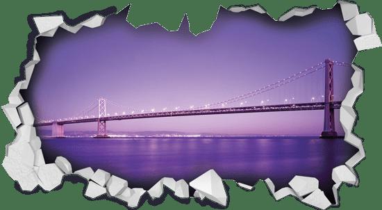 מדבקת קיר   חור תלת מימדי עם נוף סגול לגשר מעל הים