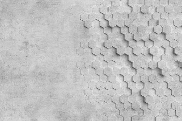 מדבקת טפט   משושי בטון תלת מימדיים