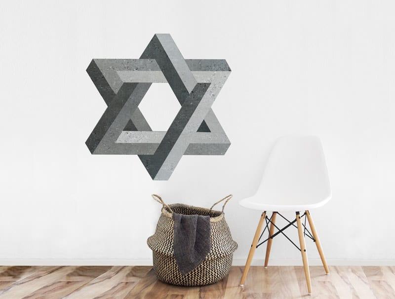 מדבקת קיר   מגן דוד תלת מימדי