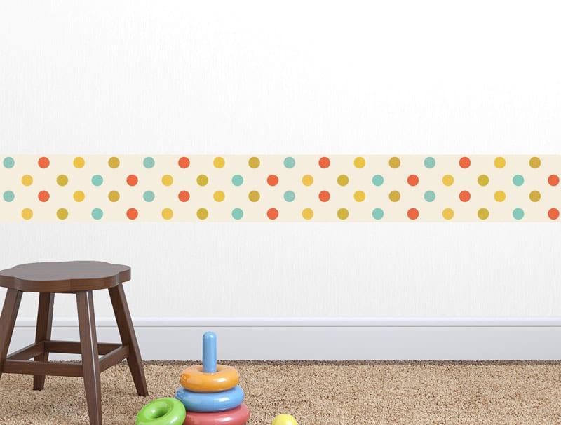 מדבקת קיר   בורדר נקודות צבעוניות