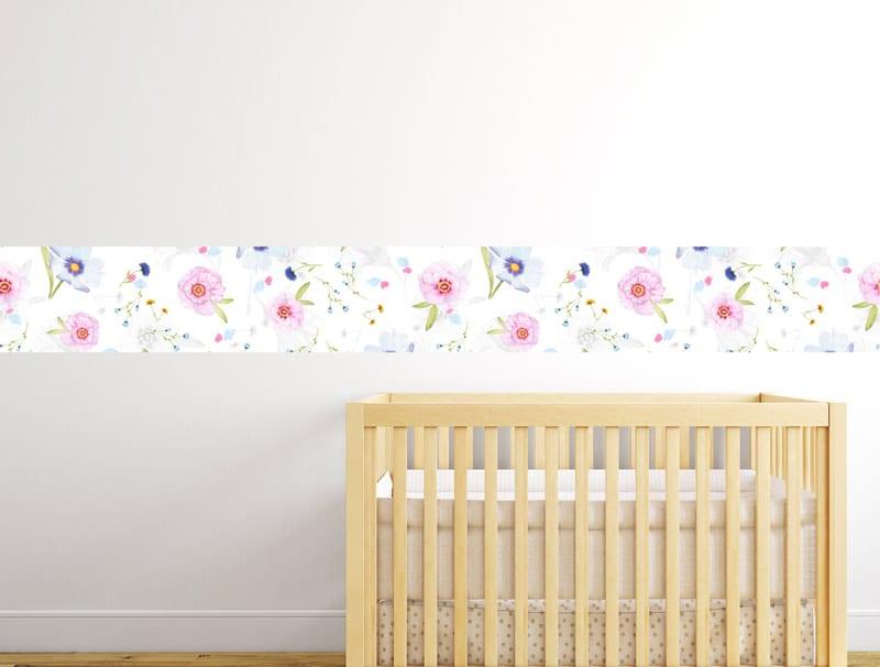 מדבקת קיר   בורדר של פרחים קטנים