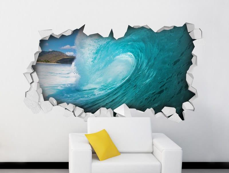 מדבקת קיר   חור עם גל כחול