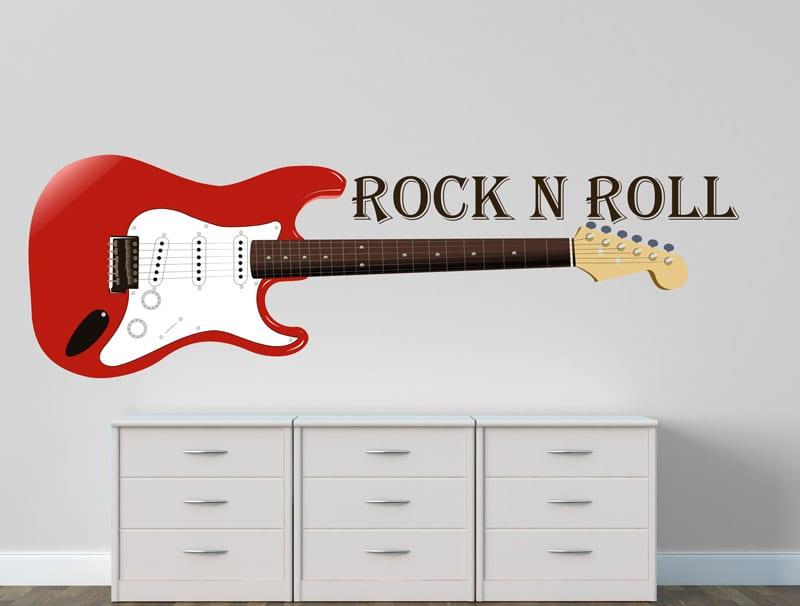 מדבקת קיר | גיטרה חשמלית אדומה